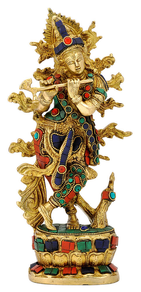 Ornate Krishna Brass Idol with Stones