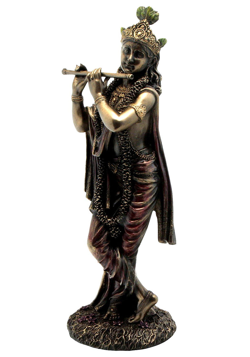 Lord Krishna Playing Flute - Antique Bronze Finish