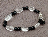 Quartz Crystal Black Agate Stretch Bracelet