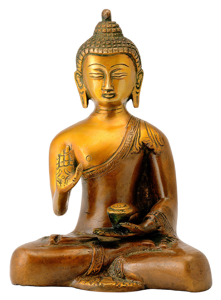 Antiquated Brass Buddha in Golden Brown Finish