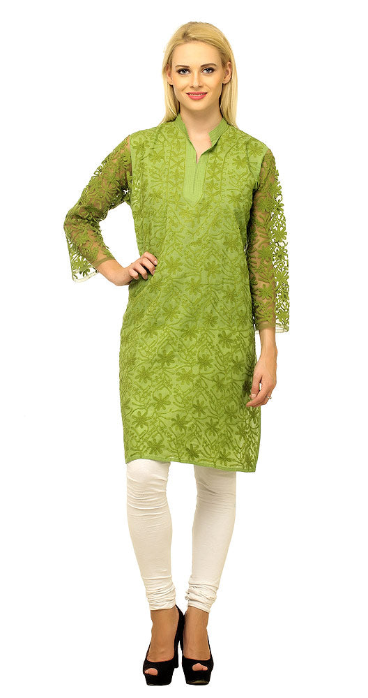 Cool Olive Green Embroidered Cotton Kurti