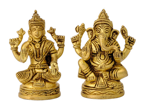 Pair of Lakshmi Ganesha Brass Statues
