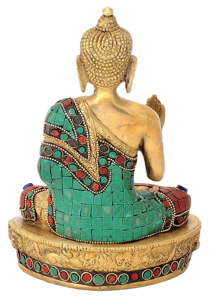 Brass Buddha Statue with Colored Stone Mosaic