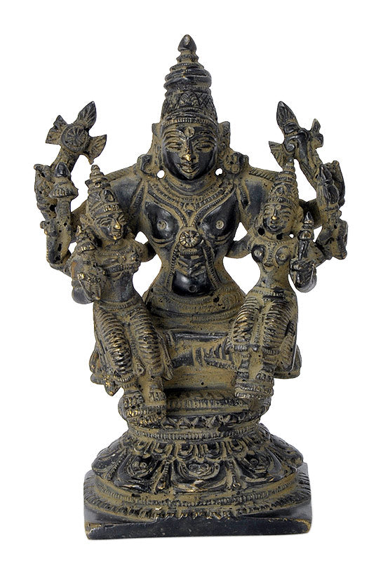 Lord Vishnu with Consorts Brass Antique Finish Statue