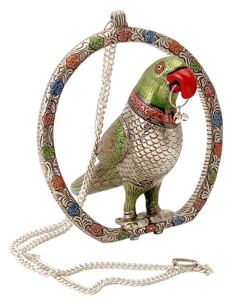 Metal Parrot Door Hanging for Griha Pravesh (House Warming)