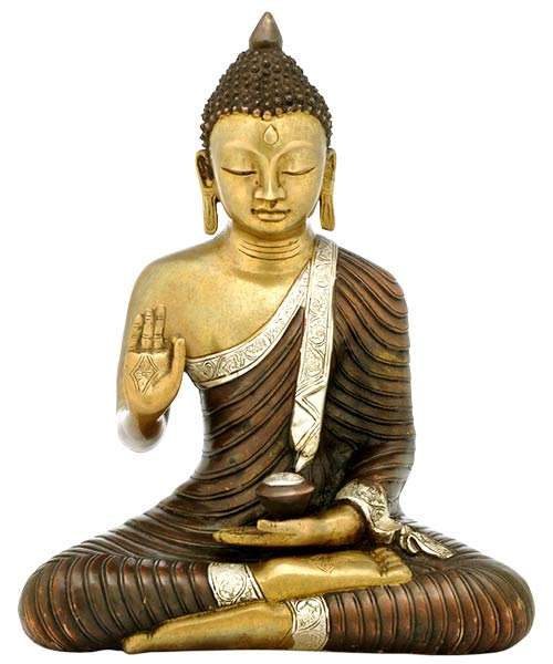 Wise Buddha - Brass Sculpture