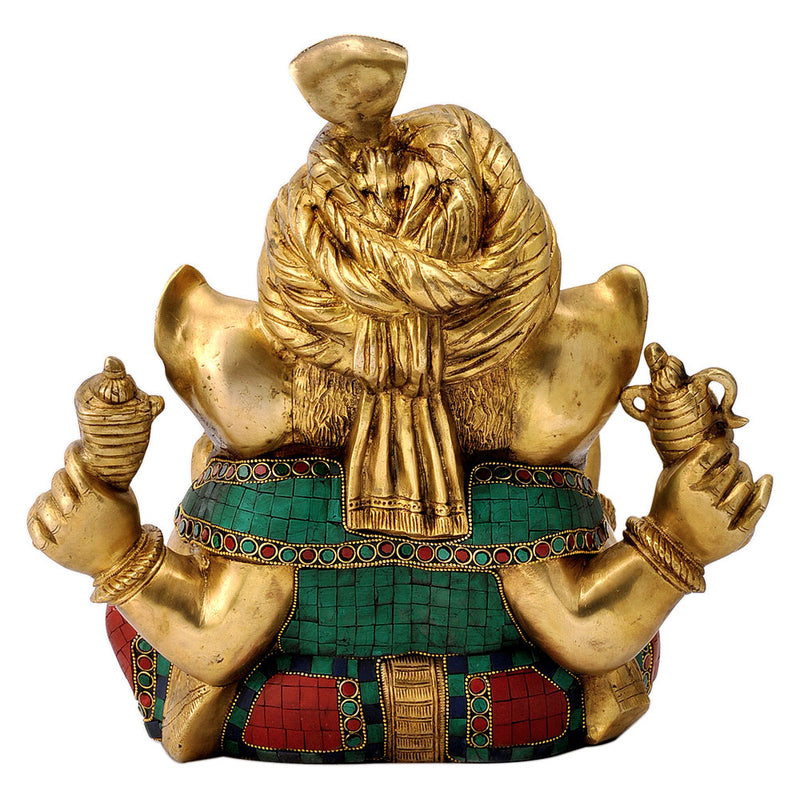 Beautiful Ornate Ganesha Wearing Turban Brass Statue