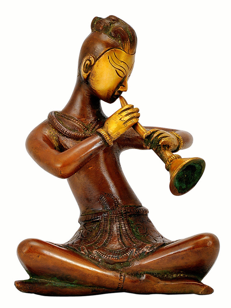 Musician Playing Shenai - Brass Statue