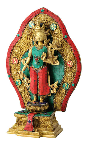 Buddhist Goddess Tara Mosaiced Brass Sculpture 15.50""
