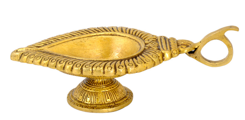 """Wick Lamp"" Brass Floral Diya with Handle"