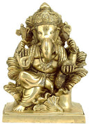 Ganesha Seated on Throne of Leafs - Brass Sculpture