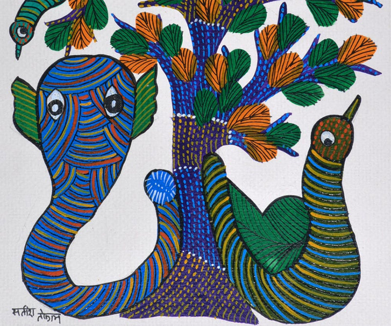 Snake and His Prey - Gond Tribal Painting