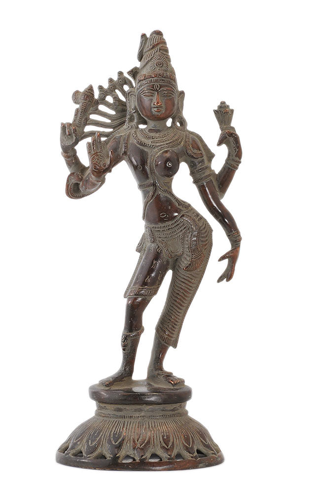 Antiquated Ardhanarishwara Brass Figurine