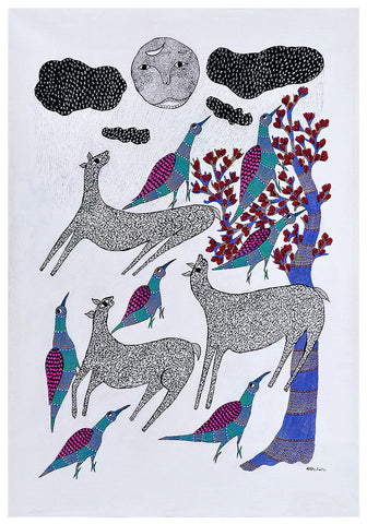 Rainy Day - Gond Tribal Art