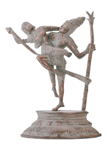 Brass Shiva Dancing with Parvati Antiquated Statue