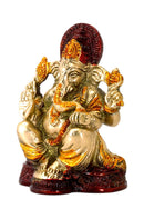 Golden God Ganesha - Brass Statue