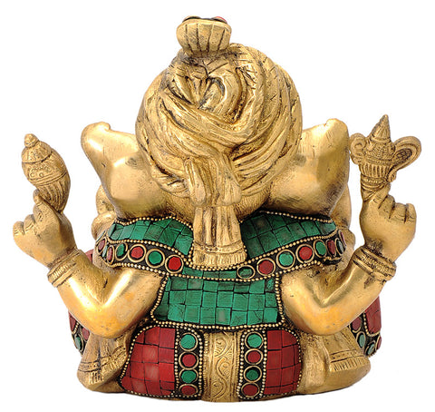Ganpati Wearing Turban Brass Statue 7.40""