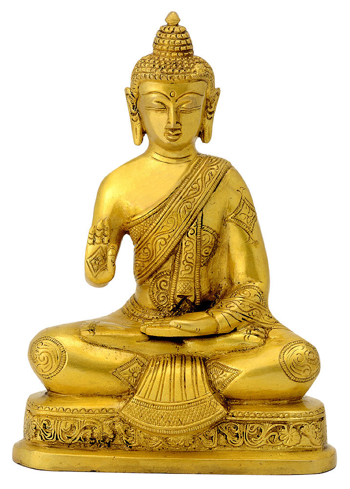 Mediating Lord Buddha Brass Figurine