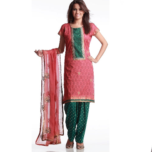 Lovely Cotton Embroidered Suit With Bandhni Salwar