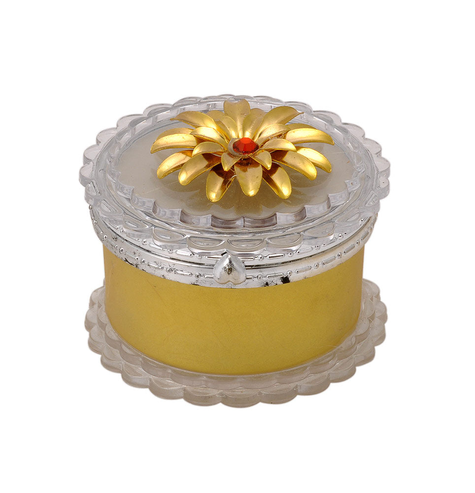 Round Glass Jewelry Box with Golden Flower