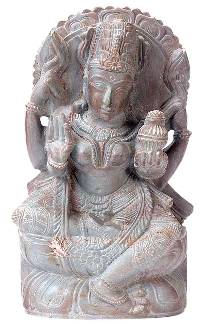 Goddess Laxmi Holding Pot of Wealth - Stone Statue