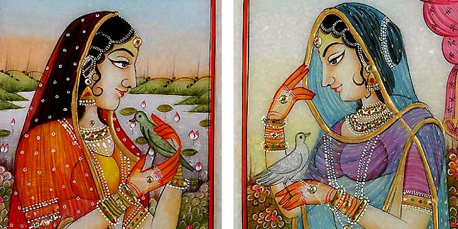 Lady And The Bird - 2 paintings
