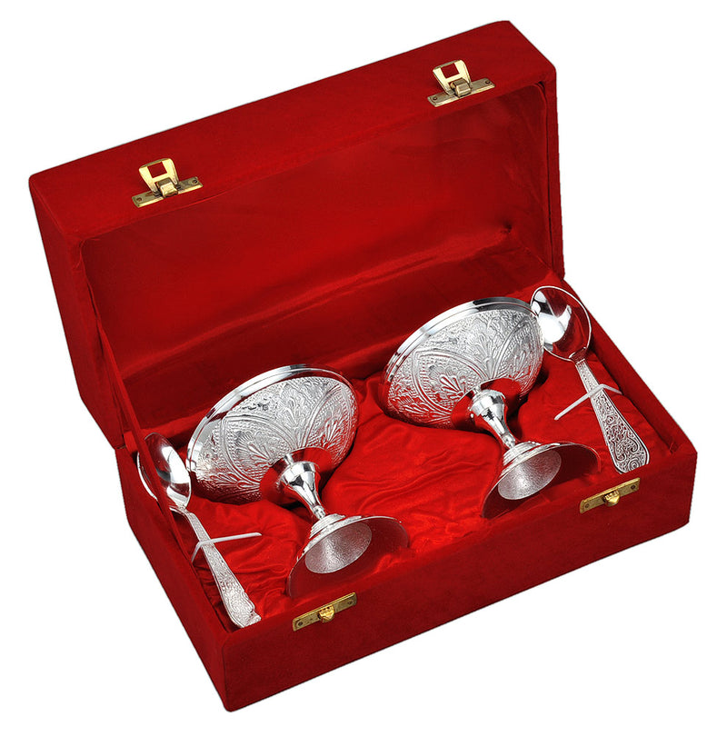 Silver Plated Ice Cream Bowl Cup Set