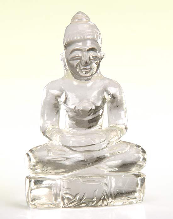 Lord Mahaveer Swami Small Statue - Quartz Crystal