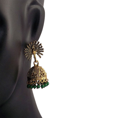 Peacock Beautiful Indian Style Jhumki Earrings Blue Green