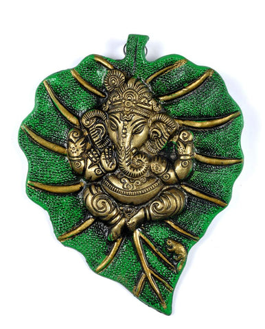 Leaf Ganesha - Decorative Wall Hanging 8""