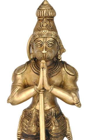 Epitome of Devotion Lord Hanuman - Brass Statuette 15""