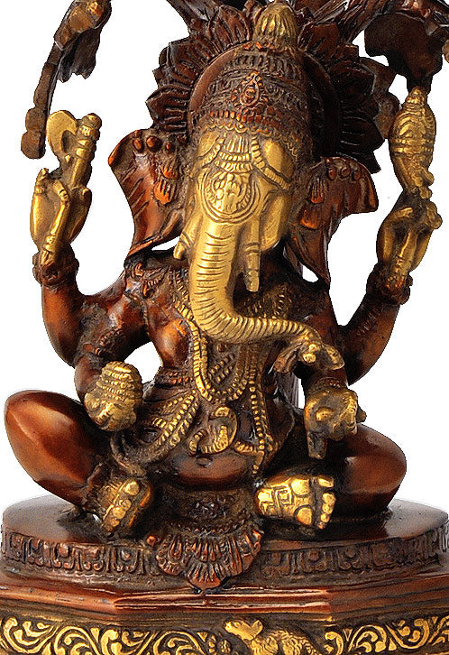 Lord Ganesha Seated Under Kadamba Tree 13.75""