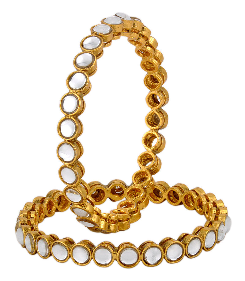 White Kundan Stone Gold Plated Bangles Set For Women and Girls