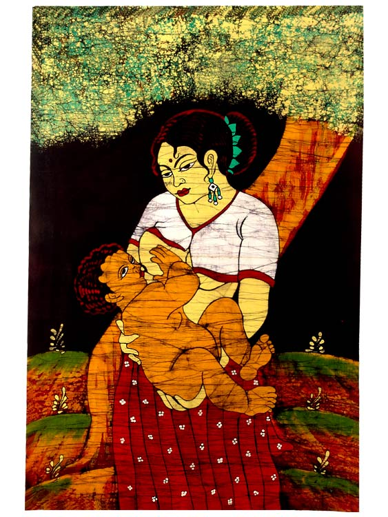 Mother and Child - Batik Art Print