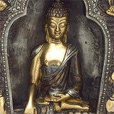 Buddha Seated on Ornament Throne - Brass Statue