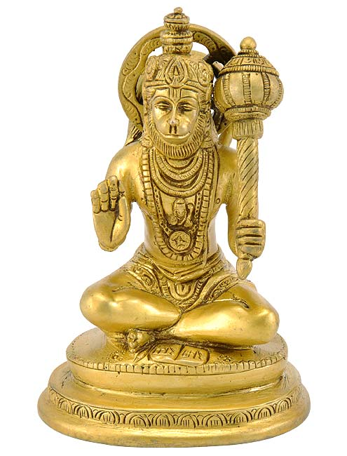 Lord Hanuman in Blessing Mode - Brass Statue 6""