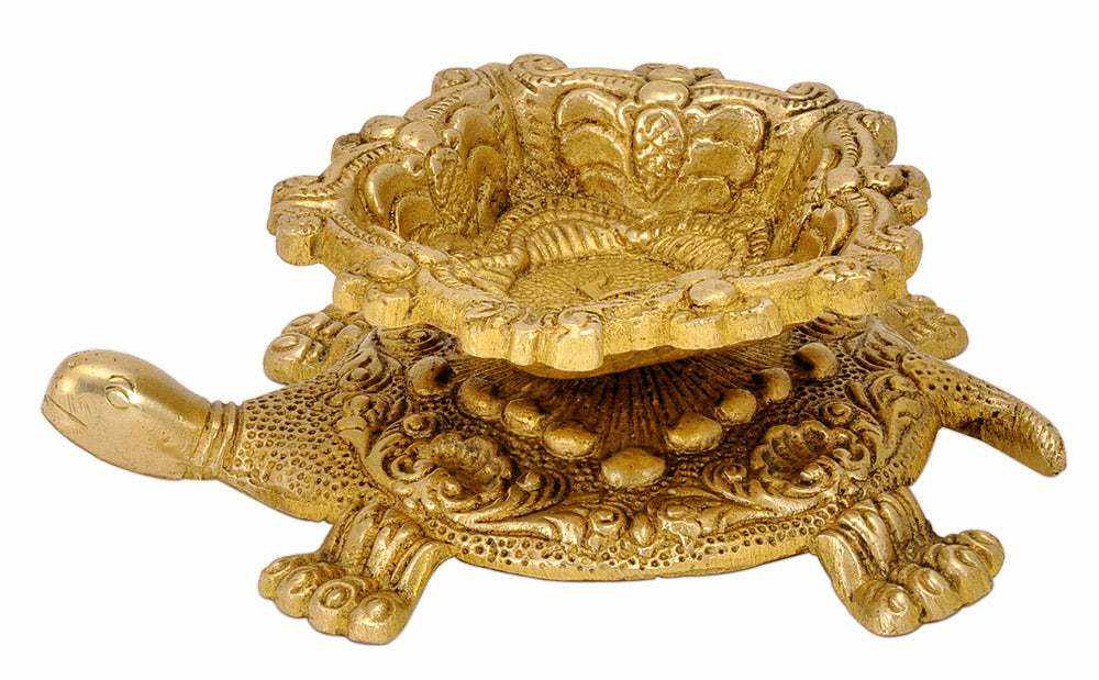 Auspicious Brass Tortoise Oil Lamp