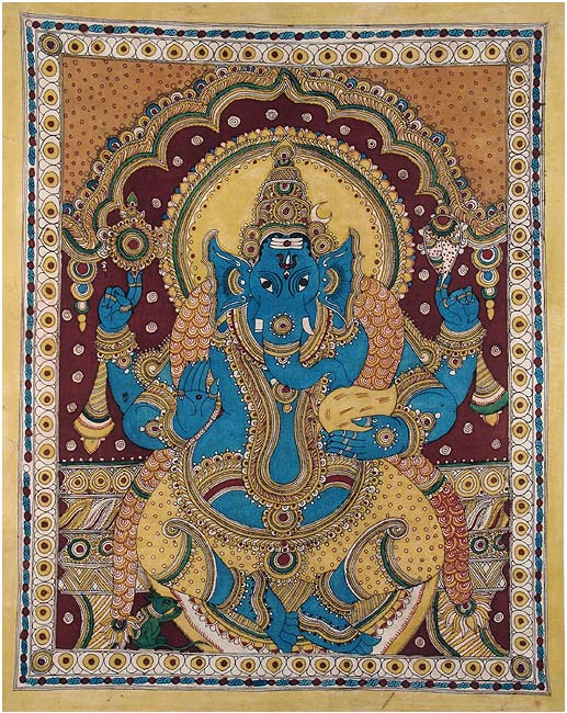 Seated Vinayaka - Cotton Kalamkari Painting 45""