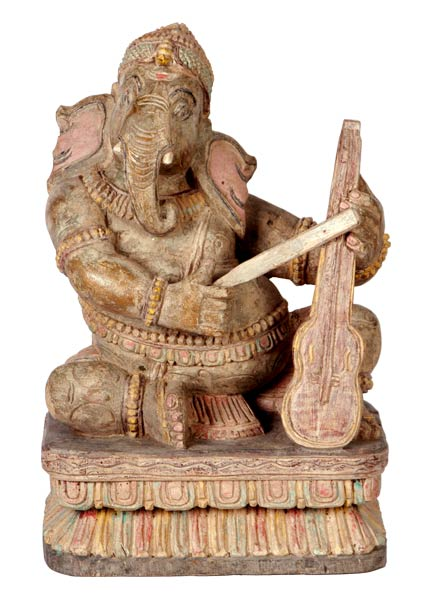 Violin Maestro Ganesha - Antiquated Wood Statue