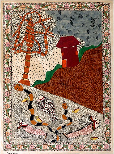 World of Creatures - Madhubani Painting