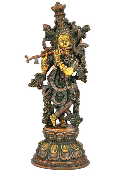 Krishna's Magical Melody - Brass Statue