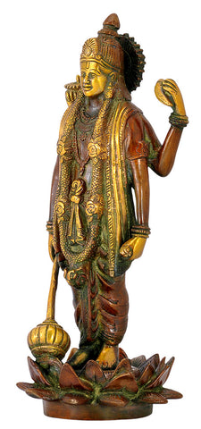 Lord Vishnu 'The Preserver' Brass Figurine 12.50""