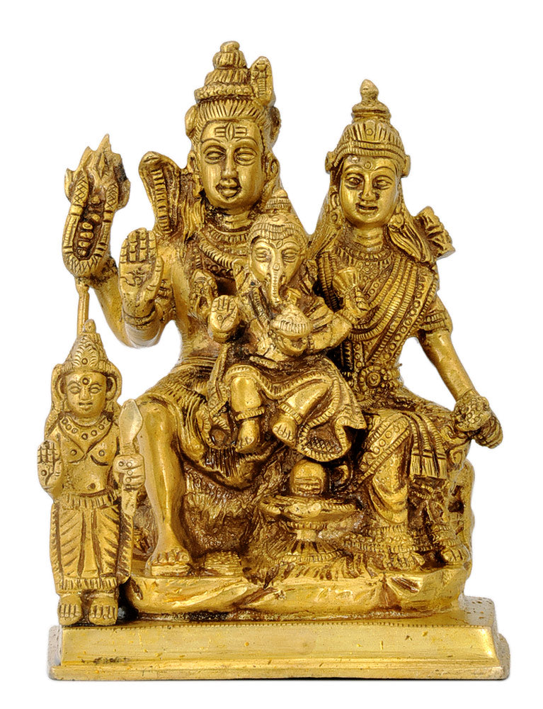 Hindu God Shiva Family Brass Statue