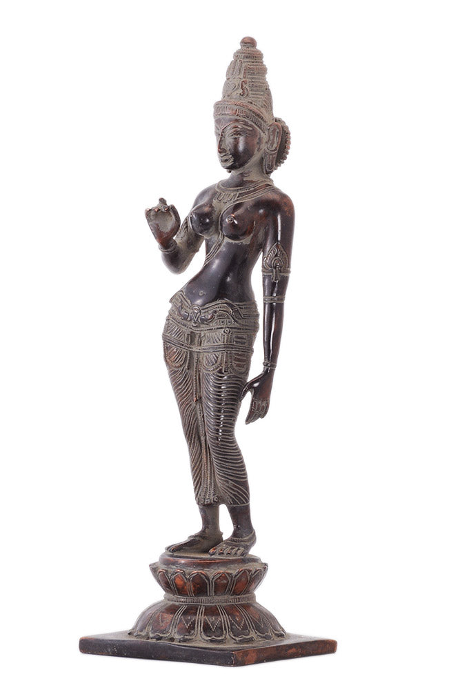 Devi Parvati Brass Figurine in Antique Finish