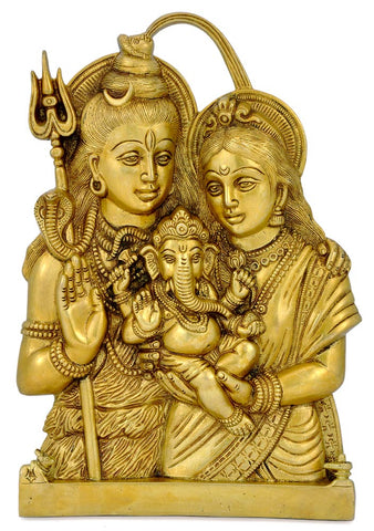 Shiv Parivar Brass Wall Plaque 11.50""
