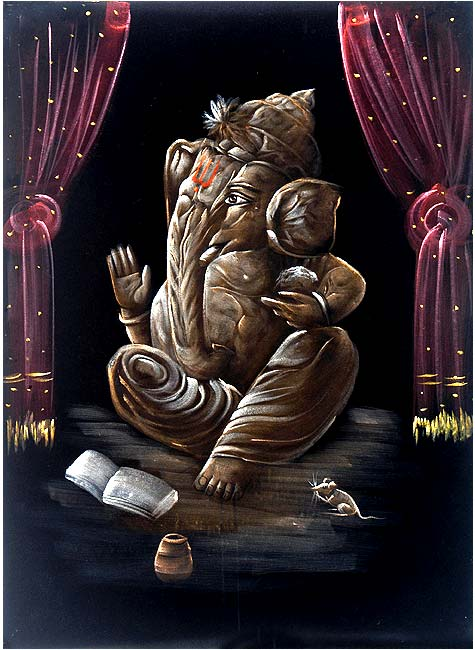 Lord Ganesha - Decorative Painting on Velvet 27""