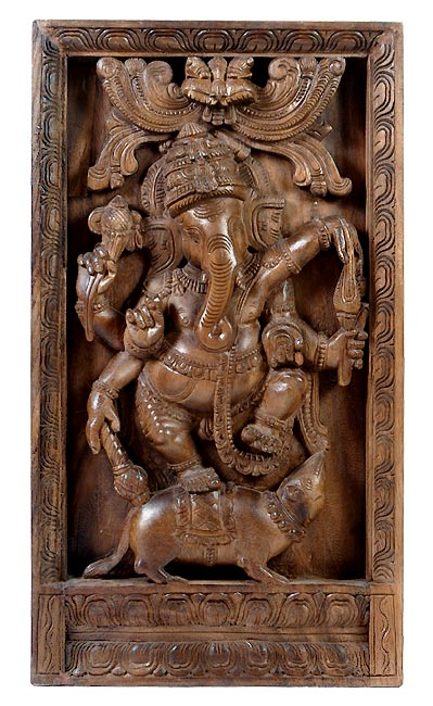 Gentle God Ganesh - Wall Wood Panel