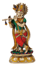 Lord Krishna Playing Flute - Exquisite Brass Statue