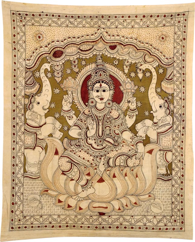 Devi Gajaluxmi Seated on Lotus - Kalamkari Painting