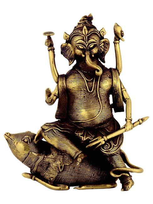 Ganesha Seated on Rat - Tribal Statuette